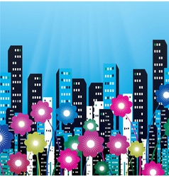 City with flowers vector