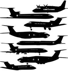Collection of different aircraft silhouettes vector image vector image