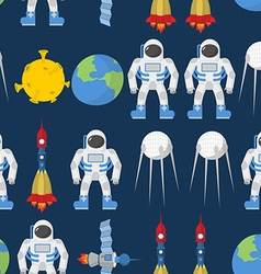 Cosmic seamless pattern Earth and astronaut Space vector image