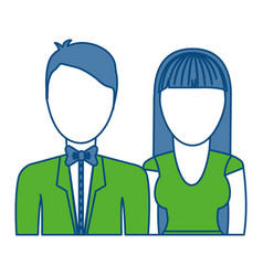 Couple with elegant clothes icon vector
