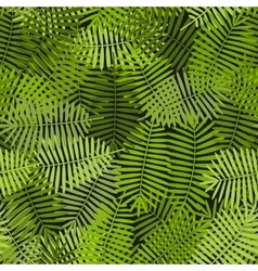 Exotic green palm leaves seamless pattern vector