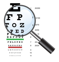 Eye test chart use by doctors and loupe vector