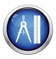 Flat design icon of Compasses and scale iin ui vector image