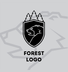 forest bear logo vector image