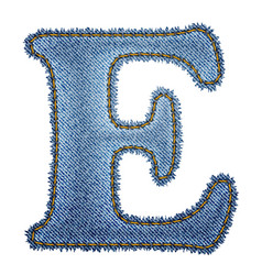 Jeans alphabet denim letter e vector