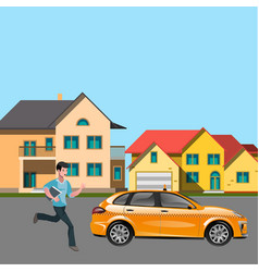 man in suit catch a taxi vector image