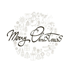 Merry christmas winter holiday greeting card with vector