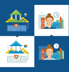 online banking education schedule and workflow vector image vector image