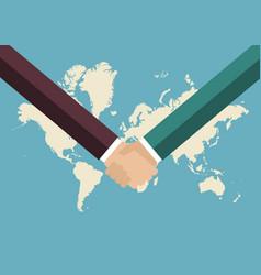 partnership handshake with world map background vector image vector image