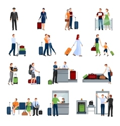 People in airport flat color icons vector
