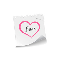 Pink heart paper note love message vector image vector image