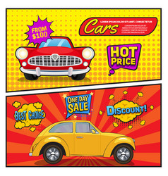 Sales of cars comic style banners vector