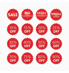 Shopping and retail SALE red tags and stickers set vector image vector image