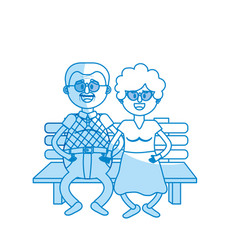Silhouette old couple in the chair with hairstyle vector
