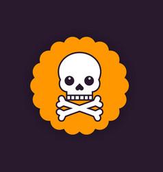 skull and bones badge vector image vector image