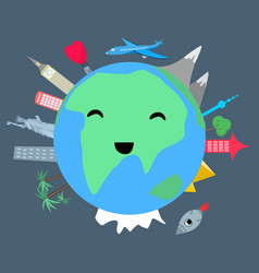 Smiling planet earth on dark background vector