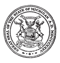 The great seal of the state of michigan vintage vector
