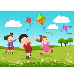 Three kids flying kites in the park vector image