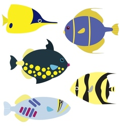 Tropical fish set vector image vector image
