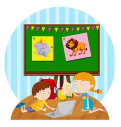 Two kids studying in classroom vector