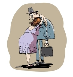Wife hugging husband vector