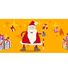 Santa with cane greeting card vector