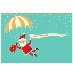 Santa claus on parachute flying on blue sky with vector