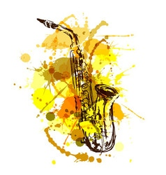 Colored hand sketch saxophone vector