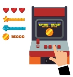 Retro arcade game console joystick vector