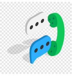 Talking on phone isometric icon vector