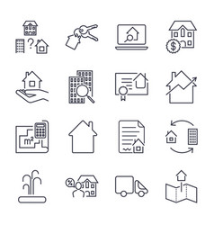 home rent mortage icons set real estate vector image