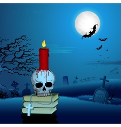 Candle on Skull in Halloween Night vector image