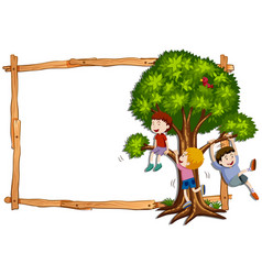 Frame template with kids climbing the tree vector
