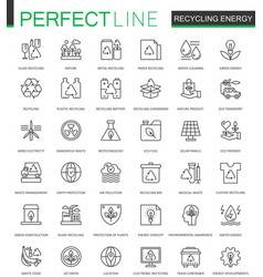 Recycling energy thin line web icons set vector