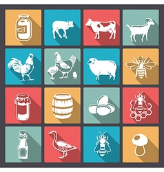 Farm icons in flat design vector