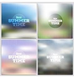 Set of summer time posters web and mobile vector