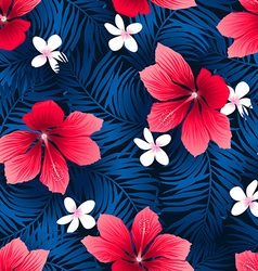Tropical red hibiscus flowers in a seamless vector