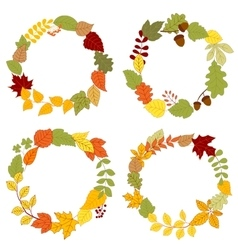 Autumn leaves wreaths with acorns and berries vector