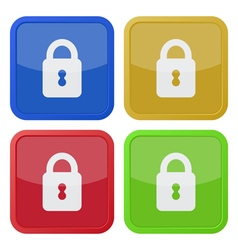 Set of four square icons with closed padlock vector