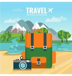 Camping backpack and camera vector