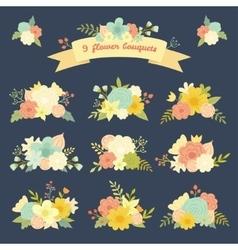 Vintage set of 9 colorful floral bouquets vector image