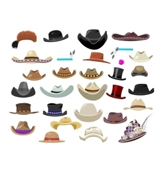 Large set of 29 vintage hats in different style vector