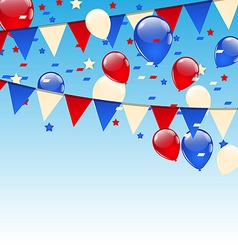 American background with balloons in the blue sky vector