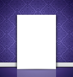 Blank canvas leaning on purple wallpaper 0508 vector