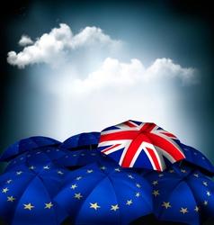 Brexit concept union jack umbrella between eu vector