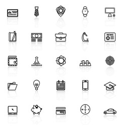 Businessman item line icons with reflect on white vector image vector image