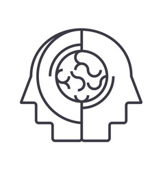 Collective opinionthinking line icon sign vector