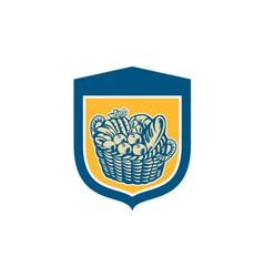Crop Harvest Basket Shield Woodcut vector image vector image
