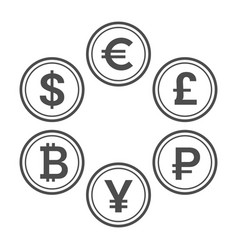 currency flat icon set line style coins vector image vector image