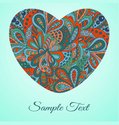 Doodle heart doodle ethnic card red and marine vector